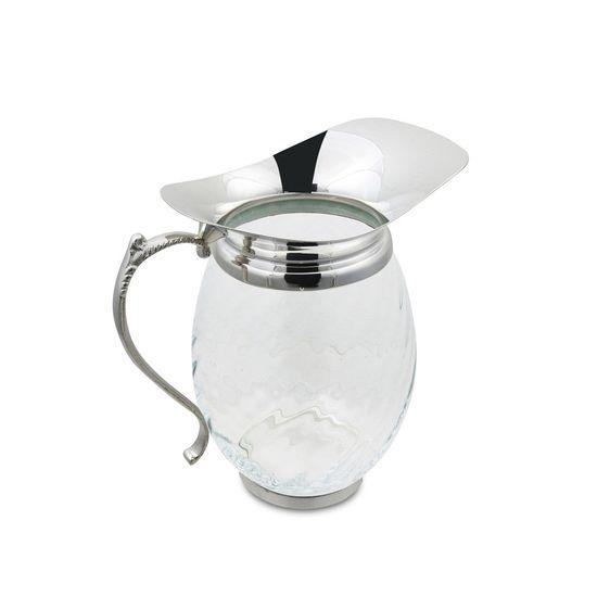 jarra de vidro com tampa prata