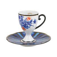 Xícara de café floral azul