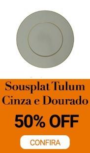 SOUSPLAT TULUM CINZA COM DOURADO