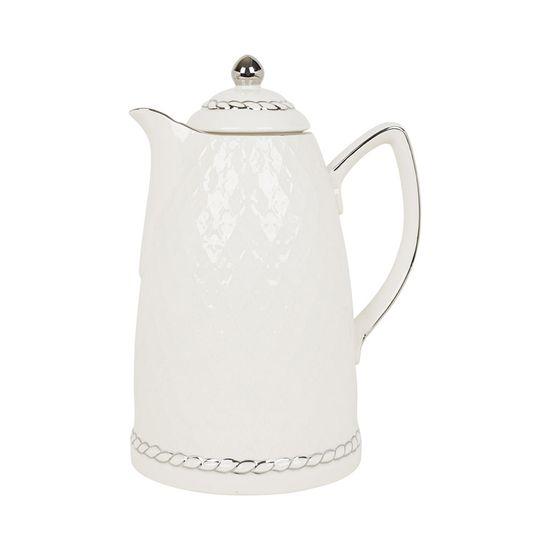 Garrafa Térmica de Porcelana Branco e Prata
