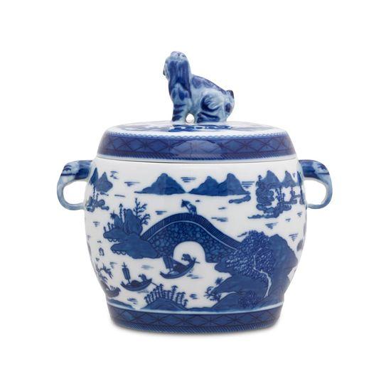 Pote porcelana com tampa azul