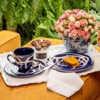 Xícara de cha ceramica azul