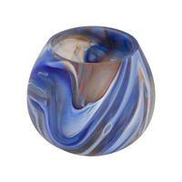 porta vela de vidro azul pequeno
